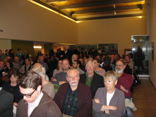 A standing room-only crowd filled the foyer at the Agnes.