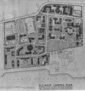 Figure 4: 1961 Ultimate Campus Plan, Long Term Planning Committee Minutes, May 1961, Queen's University Archives.